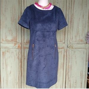 Phoebe Couture fitte suede blue dress